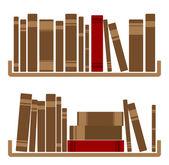 Different red Books On shelf — Stockvector