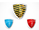 Warning shield merge with yellow stripes — Stock Vector