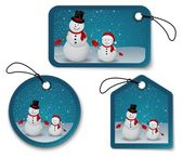 Set of Christmas bubbles, stickers, labels. with snowman — Stockvektor