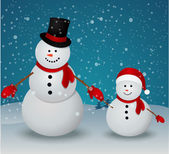 Christmas Greeting Card with snowman family — Vetorial Stock