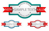 Labels with ribbon .commercial sign — Stock Vector
