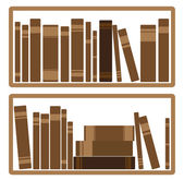 Different red Books On shelf — Stock Vector