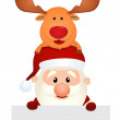 Santa Claus with reindeer and snowman in winter landscape — Stock Vector #35258649