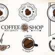 Set of vintage retro coffee shop badges and labels — Stock Vector