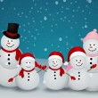 Christmas card with snowman and family — Stock Vector #35259761
