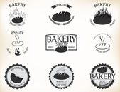 Bakery labels and badges with retro vintage style design — Stock Vector