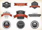 Etichette di qualità e garanzia premium con vintage retrò — Vettoriale Stock