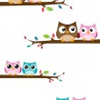 Owl family on the branch at winter banner — Stock Vector