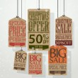 Christmas sale tags. Vintage style tags and labels — Imagen vectorial