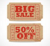 Vintage paper sale ticket design — Stock Vector