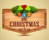 Christmas Element with message on wooden background — Stock Vector