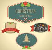 Etiquetas navideñas decoración y vintage de año nuevo — Vector de stock