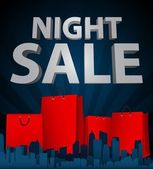 Night sale with shopping bag in city — Vettoriale Stock