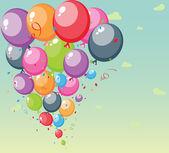 Festival balonların arka plan gökyüzü ve bulutlar — Stok Vektör