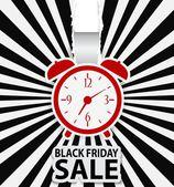 Black friday sale design with alarm clock — Stock Vector