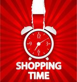 Shopping time poster design with alarm clock — Stock Vector