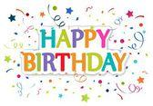 Zadowolony urodziny pozdrowienia karty — Wektor stockowy