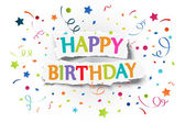 Happy birthday greetings on ripped paper — Vettoriale Stock