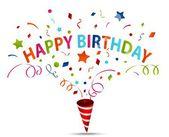 Birthday celebration with confetti — Stock Vector