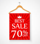 Sale promotion with wire hanger and banner — Stock Vector