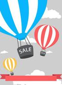 Hot air balloon poster with sale — ストックベクタ