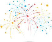 Fireworks with star on white background — Stock Vector