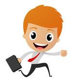 Businessman running to work — Stock Vector