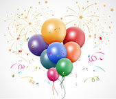 Colorful birthday with balloon and fireworks — Stock Vector
