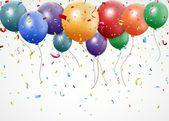 Birthday celebration with balloon and ribbon — Stock Vector