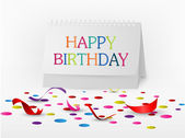 Happy birthday greetings card with note paper — Stock Vector