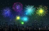 Fireworks on city night scene — Stock Vector