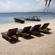 Beach rest pavilion in Gili island, Trawangan, Indonesia — Stock Photo