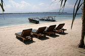 Beach rest pavilion in Gili island, Trawangan, Indonesia — Stock Photo