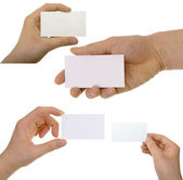 Set of hand holding an empty business card — Stock Photo