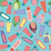 Cosmetic bottles pattern — Vector de stock