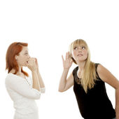 Young beautiful red and blond haired girls sign can you hear me — Stock Photo