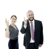 Young brunette woman and beard business man wave — Стоковое фото