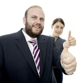 Young brunette woman and beard business man thumbs up — Stock Photo