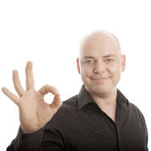 Bald man pose in front of white background — Stock Photo