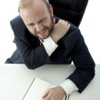 Beard business man neck pain because too much work — Stock Photo