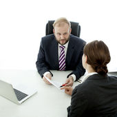 Beard business man brunette woman at desk sign contract — Stock Photo