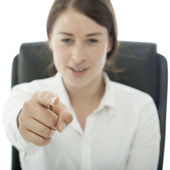 Young brunette business woman want you — Stock Photo