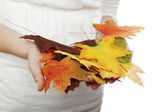 Young beautiful girl with leaves in her hands close up — Stock Photo