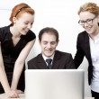 Stock Photo: Happy business colleagues