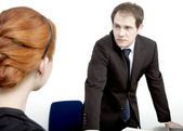 Employee confronting her boss — Stock Photo