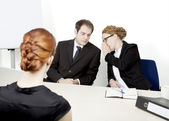 Personnel managers conducting an interview — Stock Photo