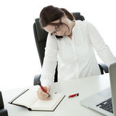 Young brunette business woman with glasses in trouble with work — Stock Photo