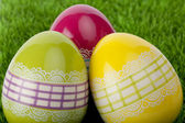 Three decorative Easter eggs, close up — Stock Photo
