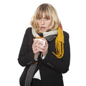 Cold miserable young woman — Stock Photo