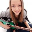Young beauty music girl with guitar — 图库照片